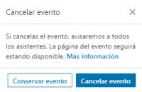 Ventana Cancelar evento