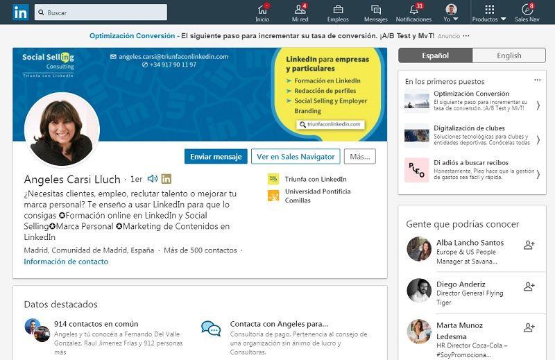 Perfil de experto en LinkedIn
