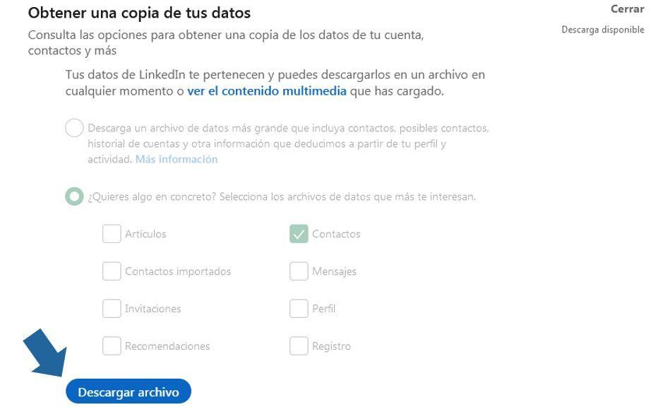 descarga de fichero de linkedin disponible