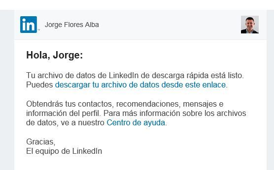 email descarga fichero de exportacion linkedin