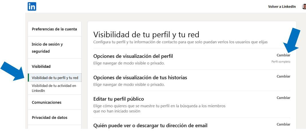 Opciones de visualizacion del perfil