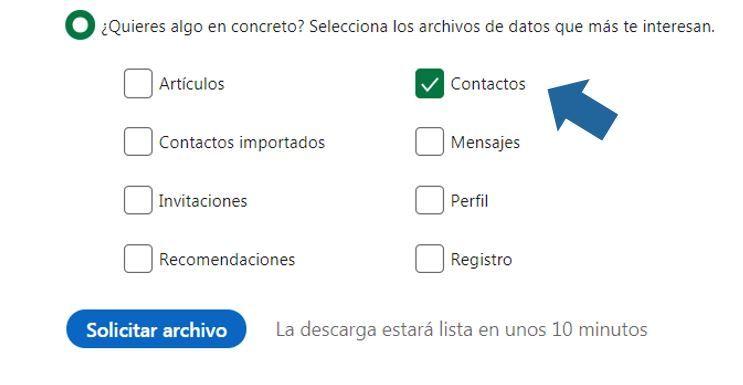 seleccionar archivo a descargar de linkedin